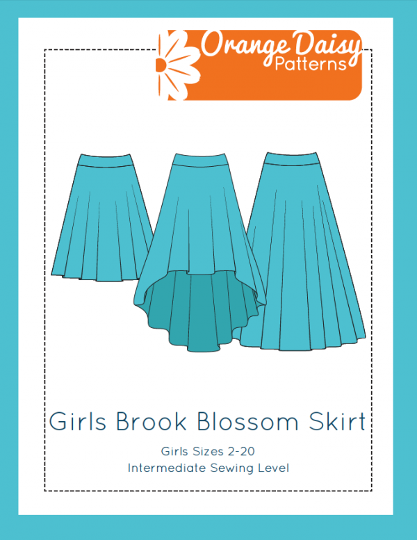 Girls Brook Blossom Skirt Line Drawing